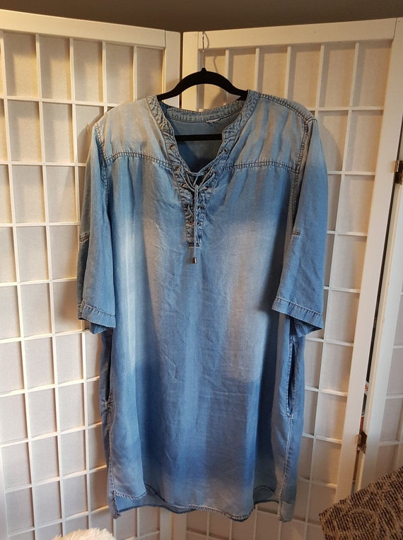 Faded Cotton Jean Ladies Tunic Lace Up Dress Top