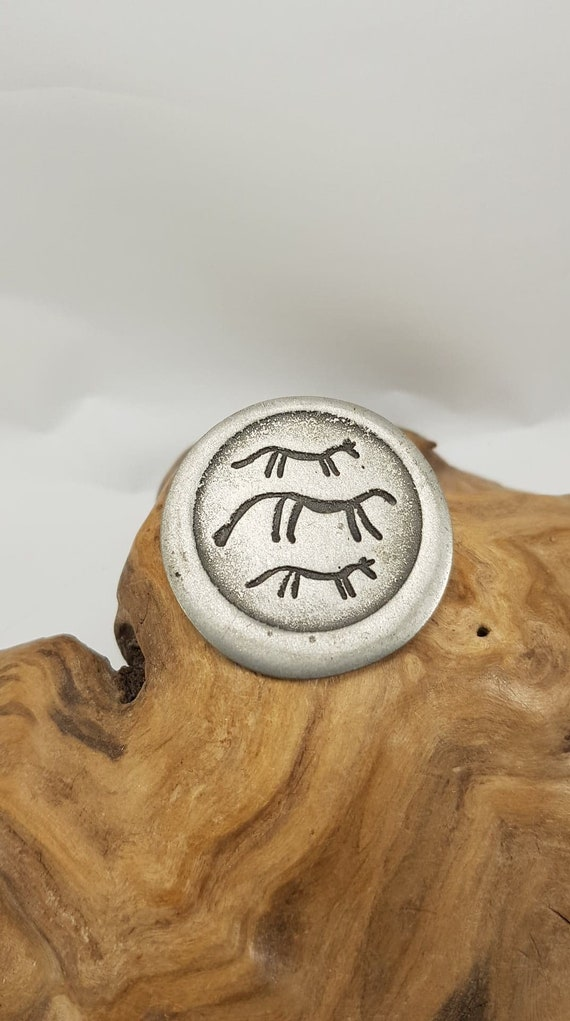 Vintage Norway Pewter Folklore  Animal Petroglyph