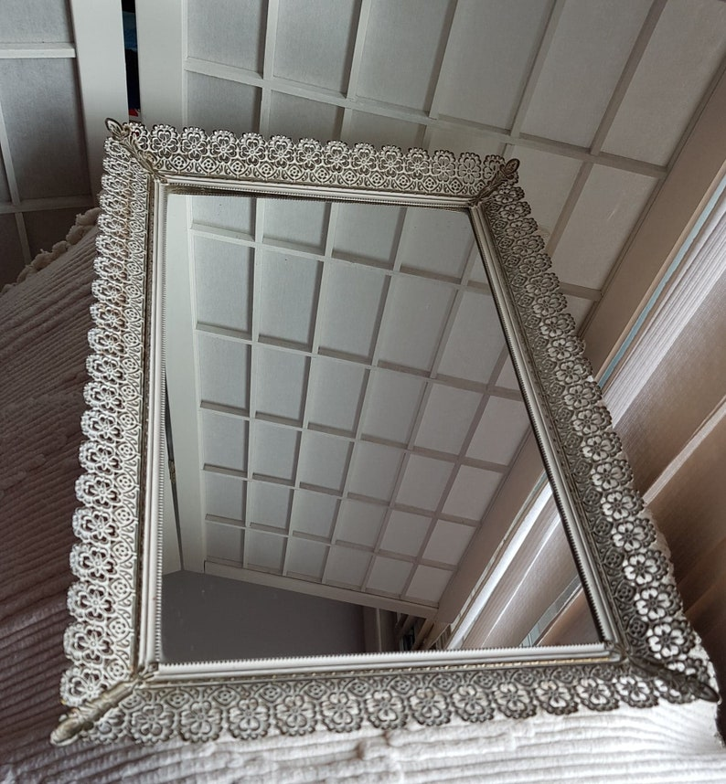 Rectangle Vintage Brass and White Filigree Footed Vanity Mirror