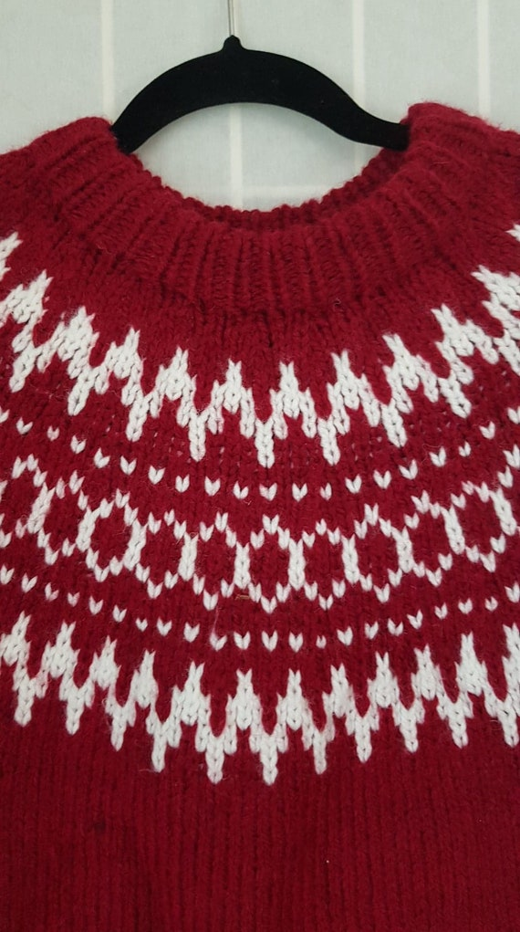 Alpine Vintage Wool Icelandic Ski Sweater - Red an