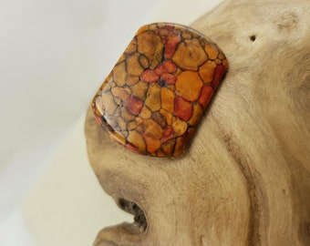 Vintage Exotic Wood Signed Brooch Pin
