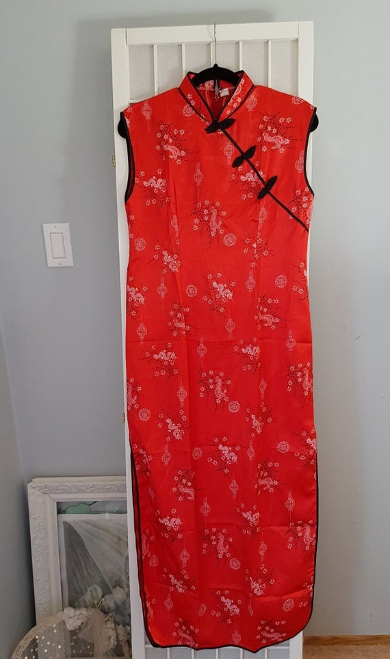 Vintage Red Oriental Long Dress -Thailand Size XL