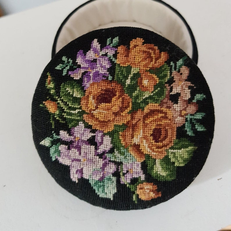 Vintage Embroidered Black Jewelry Trinket Container
