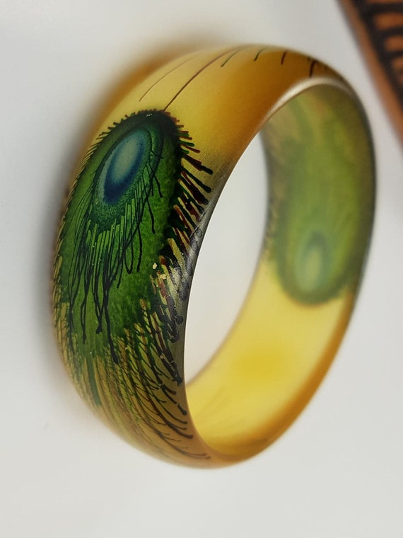 Yellow Green Peacock Vintage Lucite Bangle