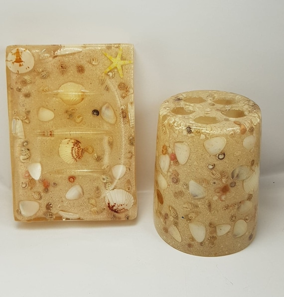 Natural Shell and Sand Inlaid Beach Bathroom Set