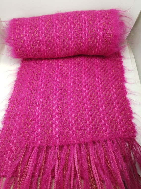 Fuschia Pink Mohair Wool Hand Woven Long Scarf