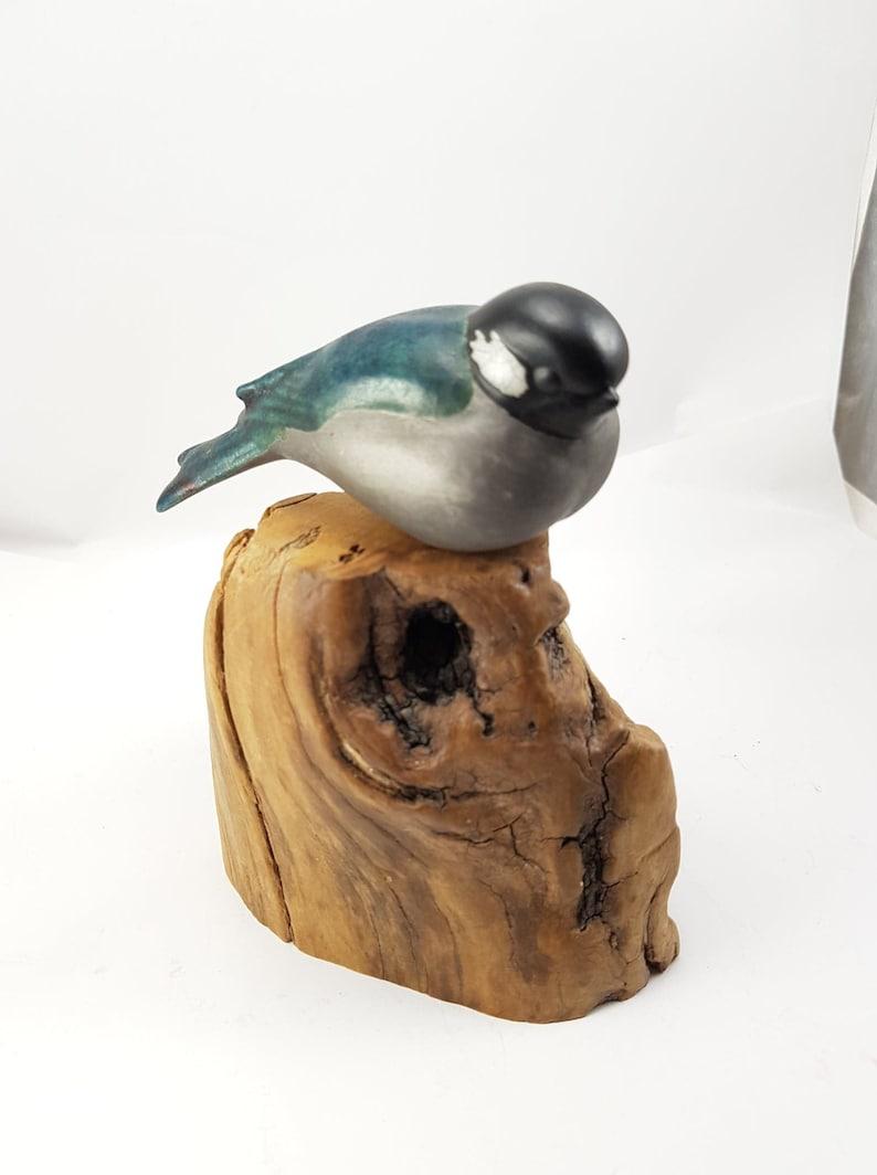 Raku Pottery Small Chickadee Bird