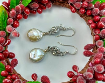 Natural White Coin Pearl Earrings with Silver Rhinestones - 146A