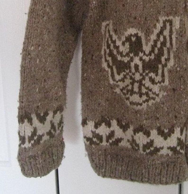 Cowichan Sweater Vintage Wool Eagle Cowichan Sweater Jacket Wool Jacket Warm Hand Knit Coat Native American Wool Size Medium