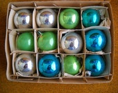 Box of Vintage Glass Ornaments in Silver, Lime and Teal