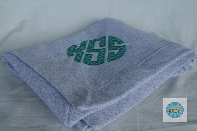 You Choose the Fabric Personalized Name Monogram Applique Sweatshirt Blanket