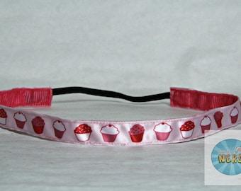 No Slip Pink Cupcake Headband