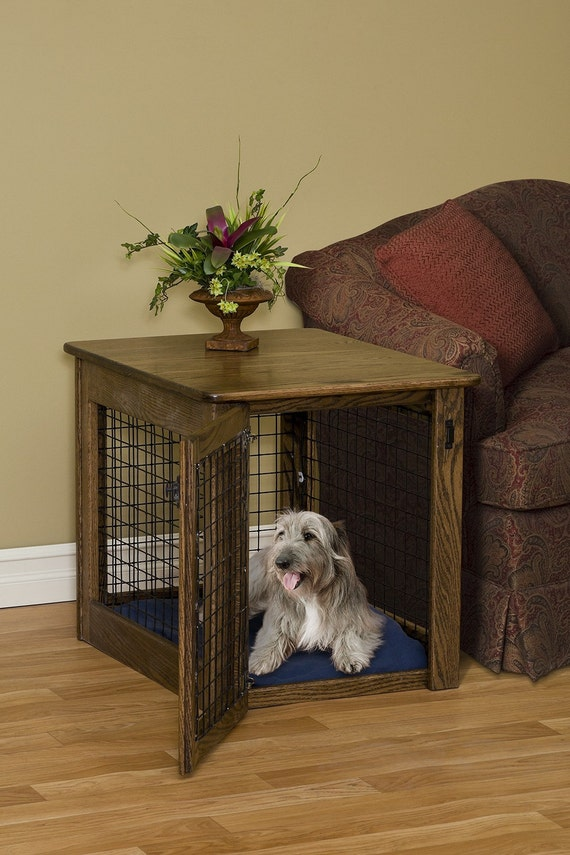 Wooden Dog Crate End Table Chew Proof Pet Furniture Solid Wood Etsy