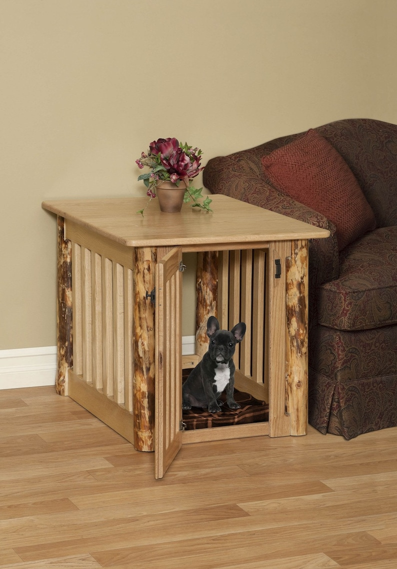Rustic Dog Bed Dog Crate For Hunting Cabin Rustic End Table Etsy