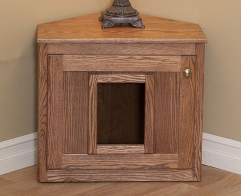 Hideaway Litter Box Cat Litter Furniture Oak Wood Hidden Etsy
