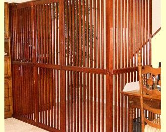 Wooden Pet Gate door included~ Dog Room Dividers with Door, Indoor Pet Cat Enclosure Oak~Custom Welcome