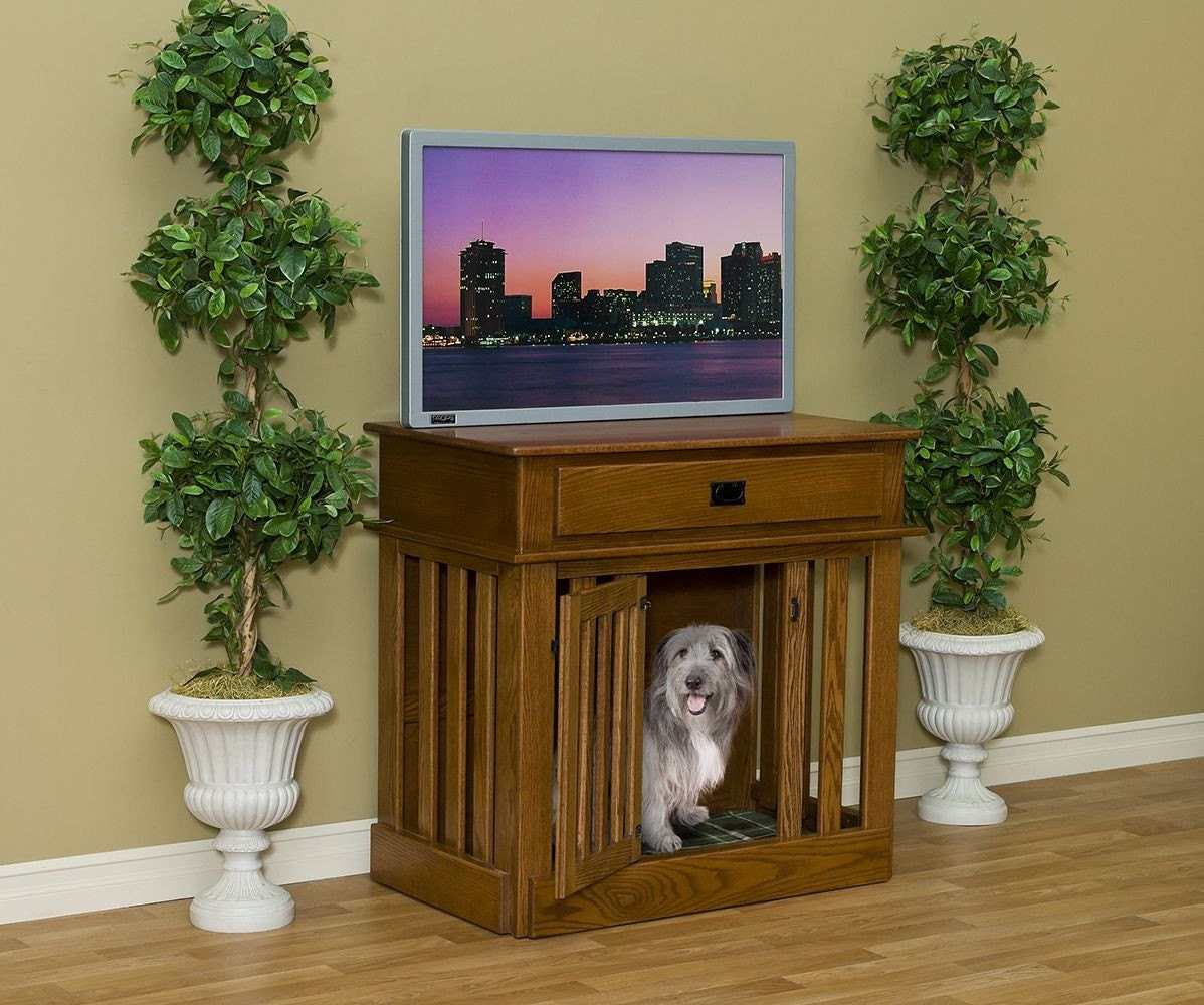 Entertainment Center Wooden Dog Crate Dog Puppy Crate By Amish Extra large