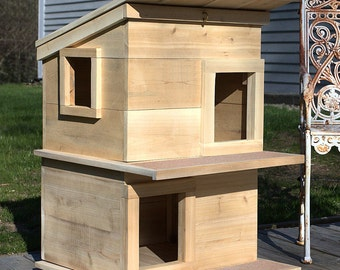 Cat House  Outdoor Cat Shelter Condo For Your Rescue Cat-Comfy Insulated For your Kitten-The Best Cat Lover Gift