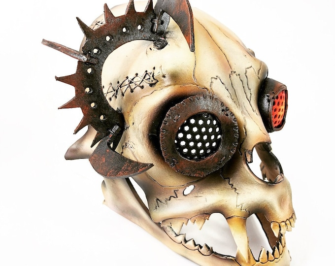Handcrafted Genuine Leather Dimensional Cat Skull Robot Mask