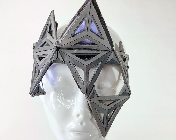 Lit Triangles LED and Handmade Genuine Leather Mask