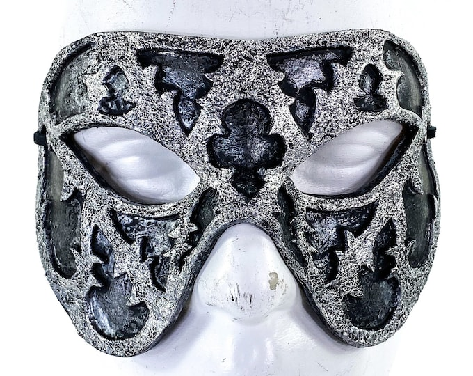 Dual Layer Handmade Genuine Leather Mask in Silver and Black