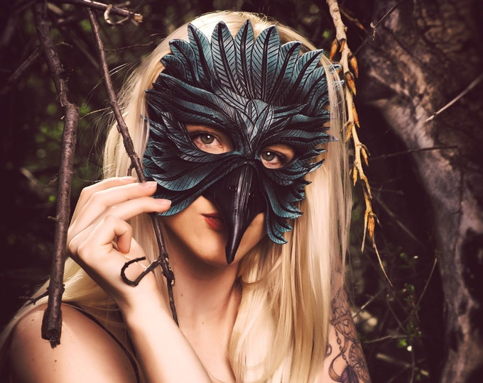 Blue Raven Handmade Genuine Leather Mask in Dark Blue