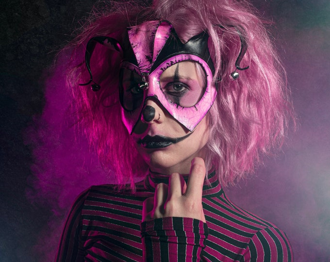 Handmade Genuine Leather Jester Mask in Pink
