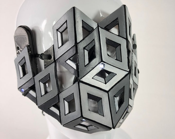 Optical Illusion Cube LED and Handmade Genuine Leather Mask