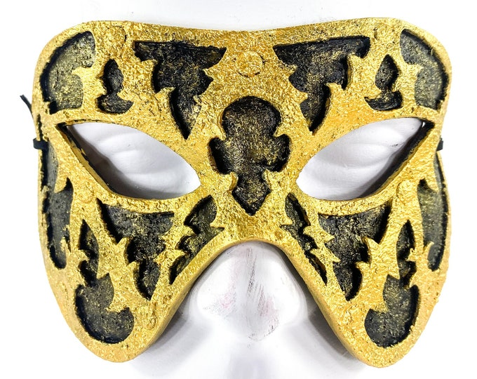 Dual Layer Handmade Genuine Leather Mask in Black and Gold