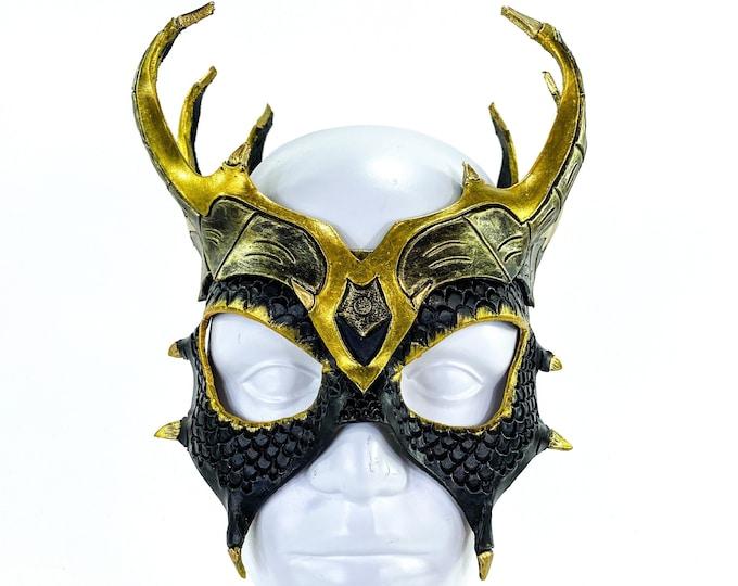 Dragon Crown Eye Mask - Handmade Genuine Leather - Masquerade, Halloween or Cosplay Costume