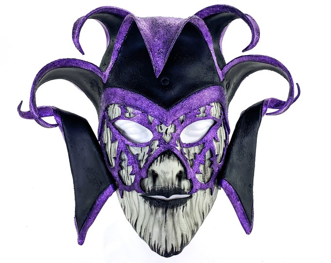 Venetian inspired Jester Mask in Purple and Black - Wearable or Wall Art - Handmade Genuine Leather