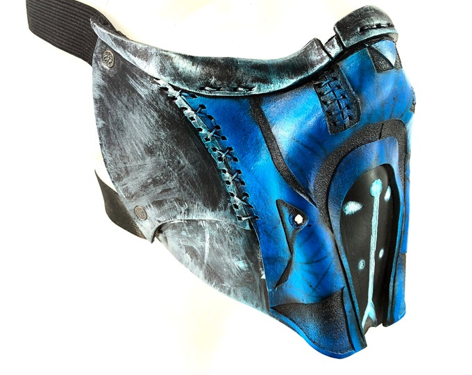 Handcrafted Genuine Leather Blue Fighter Mask