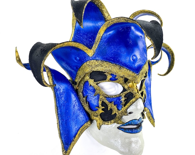 Venetian inspired Jester Mask in Blue and Gold - Wearable or Wall Art - Handmade Genuine Leather