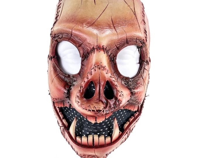 Evil Swine - Genuine Leather Mask - Freshly Butchered Horror Pig  - Handmade Full Face Cover for Halloween or Performance Costume