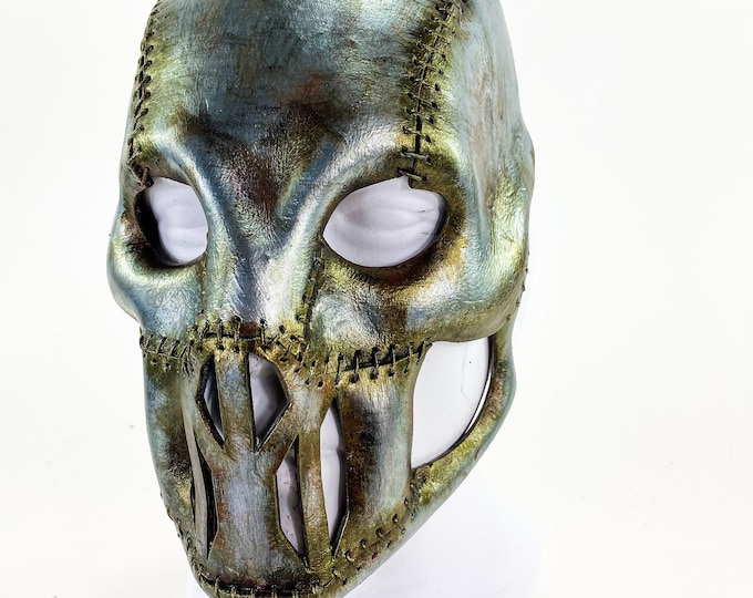 The Invader - Genuine Leather Mask in Corroded Metallic Paint - Handmade Full Face Cover for Halloween, Performance or Cosplay Costume