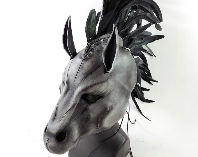 Flying Horse Handmade Genuine Leather Mask with Feathers