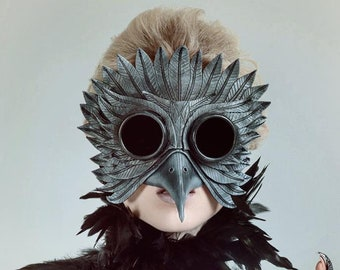 Black Raven Goggles Handmade Genuine Leather Mask  for Masquerades Cosplay or Halloween Costumes