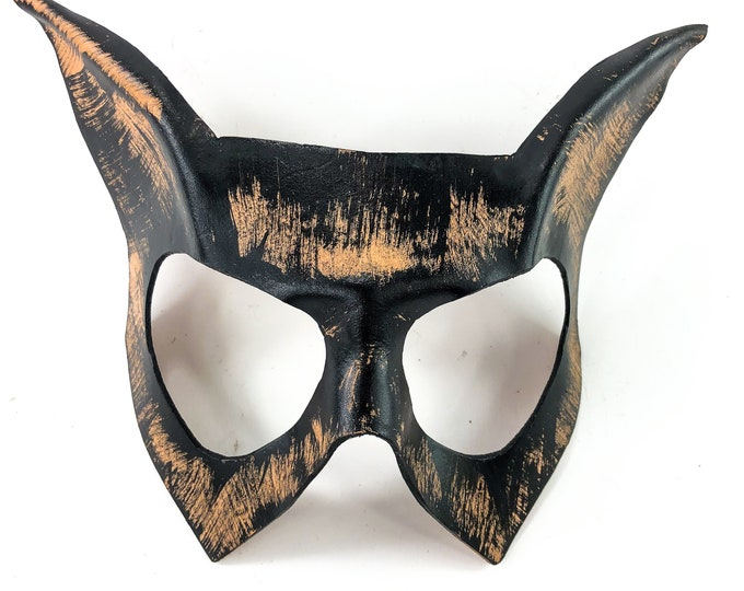 Handmade Genuine Leather Cat  Mask in Nude and Black