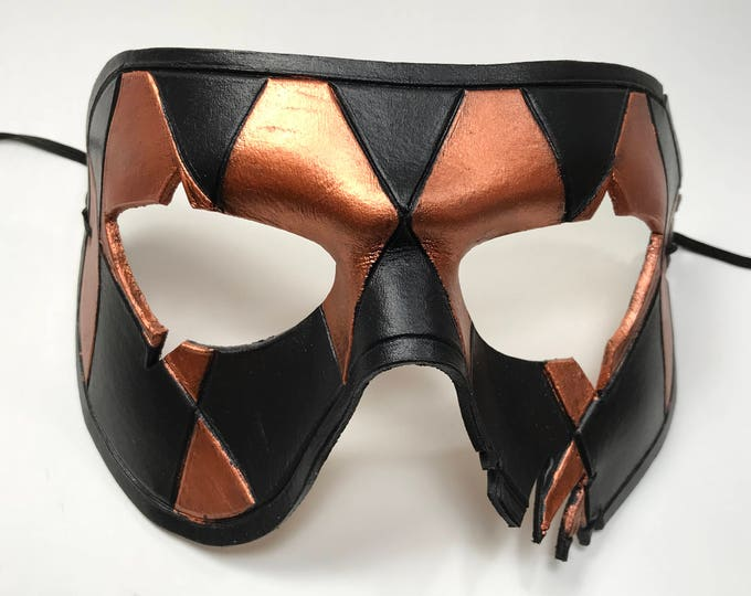 Two Face Harlequin Handmade Genuine Leather Mask in Black and Copper for Masquerades Halloween or Cosplay
