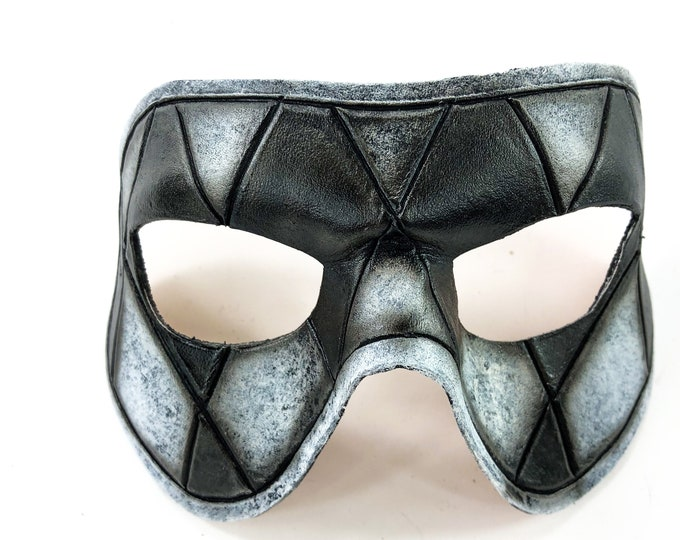 Harlequin Handmade Genuine Leather Mask in Black and White