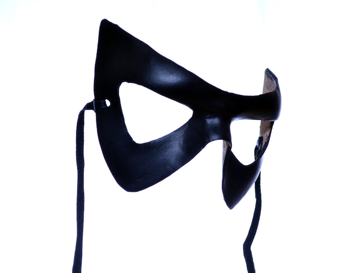 Super Hero Handmade Genuine Leather Mask in Black