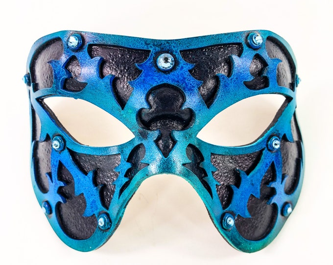 Dual Layer Handmade Genuine Leather Mask in Blue and Black with Swarovski Crystals