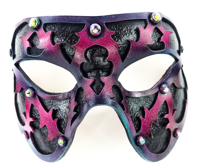 Dual Layer Handmade Genuine Leather Mask in Pink and Black with Swarovski Crystals