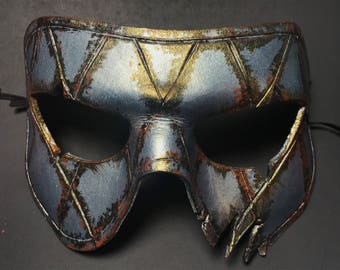 Harlequin Handmade Genuine Leather Mask in Silver Rust for Masquerades Halloween or Cosplay