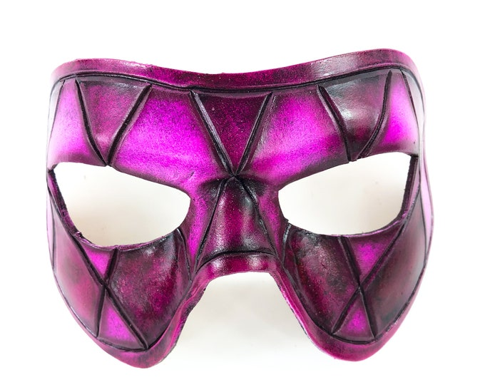 Harlequin Handmade Genuine Leather Mask in Black and Pink