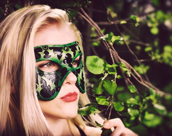 Dual Layer Handmade Genuine Leather Mask in Green and Black with Swarovski Crystals