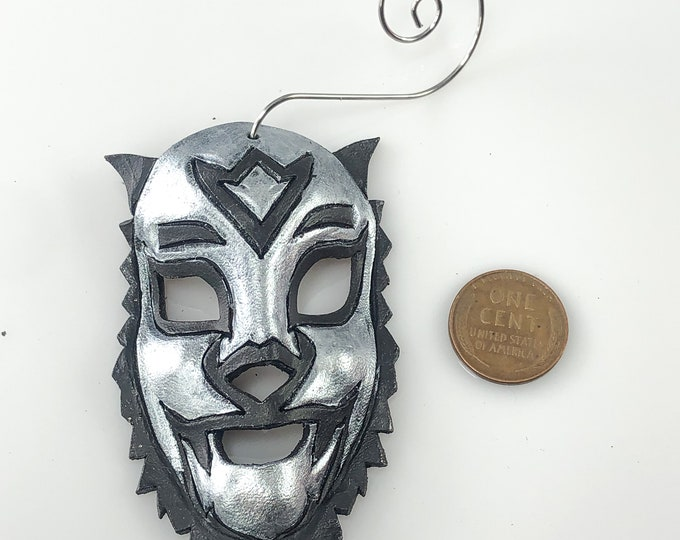 Lion Luchador Miniature Genuine Leather Mask Ornament - Black and Silver