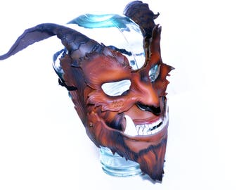 The Beast - Handmade Genuine Leather Mask with Horns in Natural Colors for Masquerade Halloween or Cosplay Costume