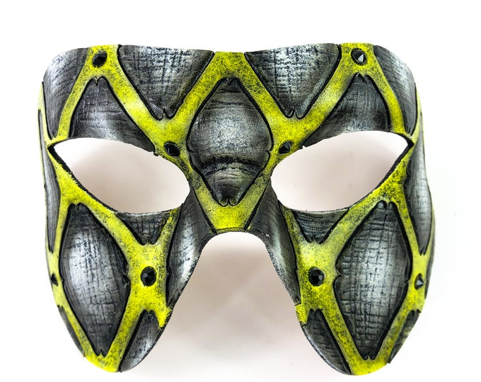 Handmade Genuine Leather Mask in Black and Yellow with Swarovski Crystal Accents