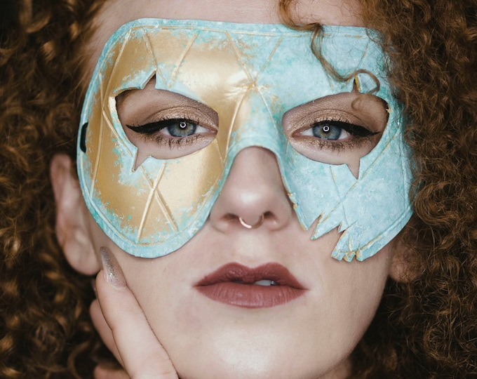 Corroded Brass Harlequin Handmade Genuine Leather Mask in Blue White and Gold for Masquerades Halloween or Cosplay